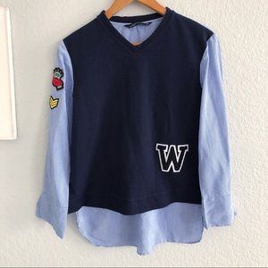 Zara Woman Blue Preppy Patchwork Long Sleeve Shirt